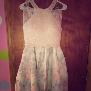 two piece floral prom dress